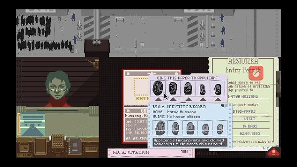 Papers Please fingerprints